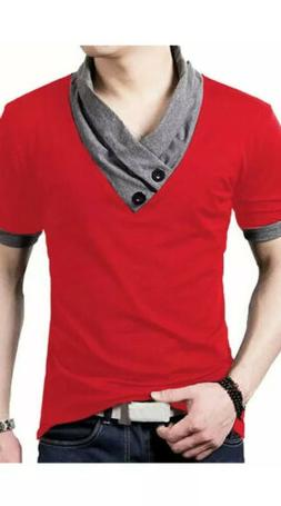 YTD 100% Cotton Men Casual V-Neck Button Slim Muscle Tee Sho