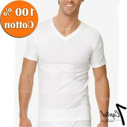 3-12 PACK Mens 100% Cotton Tagless Crew V-Neck Undershirt Wh
