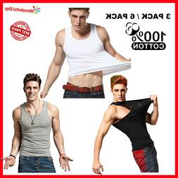 3 to 12 Packs Mens 100% Cotton Tank Top A-Shirt Wife Beater