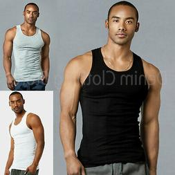 3 Pack Men Tank Top 100% Cotton A-Shirt Wife Beater Ribbed P