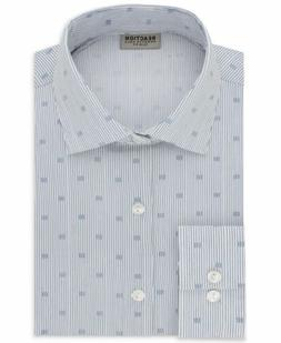 $95 KENNETH COLE REACTION Men SLIM-FIT WHITE BLUE STRIPE DRE