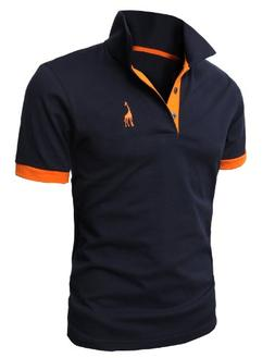 H2H Men's Polo Shirts Casual Slim Fit V-Neck Long Sleeve T S
