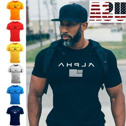 ALPHA Men's Gym T-shirt Muscular Fitness Bodybuilding Outdoo