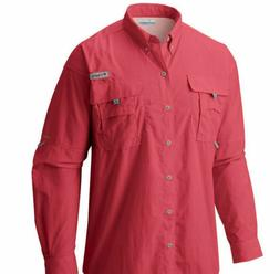 Columbia Men's Bahama II Long Sleeve Shirt, Sunset Red, Larg