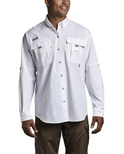 Columbia Men's Bahama II Long Sleeve Shirt, White, Large