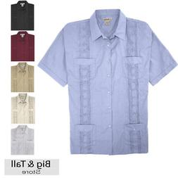 Big and Tall Men's Guayabera Short Sleeve Shirt 2XL - 8XL 2X