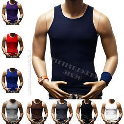Mens T-Shirt  Tank Top100% Cotton A-Shirt Muscle Ribbed Gym