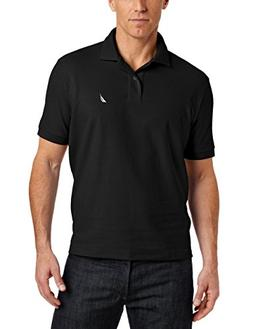 Nautica Men's Big & Tall Solid Deck Polo Shirt, True Black,