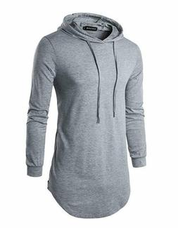 Defal Mens Hipster Long Sleeve Side Zipper Hooded Shirt Pull