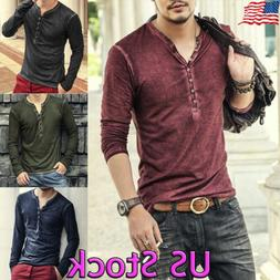 Fashion Men Casual Button Shirt Men Slim Fit V-neck Long Sle