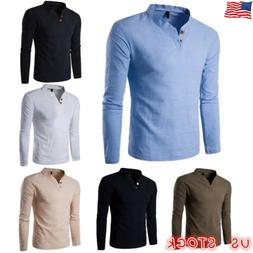 Fashion Men's Casual Polo Shirt Men Slim Fit V-neck Long Sle