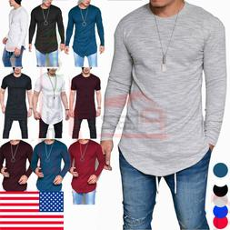 Fashion Men's Slim Fit O Neck Long Sleeve Muscle Tee T-shirt