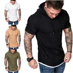 Fashion Men's Slim Fit Solid hooded Hoodie Short Sleeve Casu
