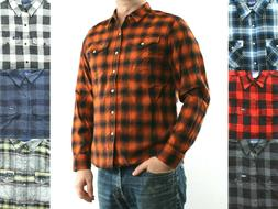 Wrangler Flannel Shirt Mens Plaid with 2 Pockets Western Pea