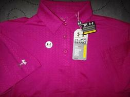 UNDER ARMOUR GOLF COLD BLACK  POLO SHIRT SIZE M MEN PINK NWT