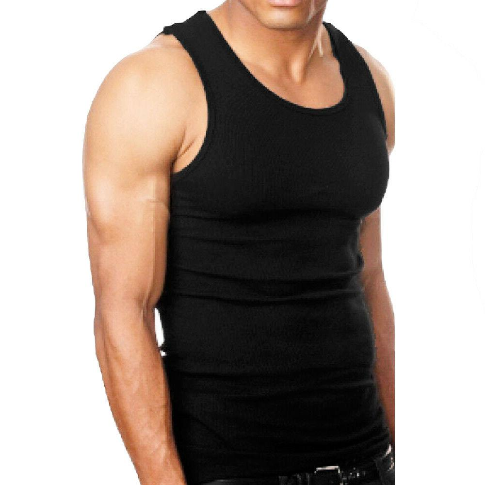 3-6 A-Shirt Tank Ribbed Undershirt Wife Beater Black Muscle