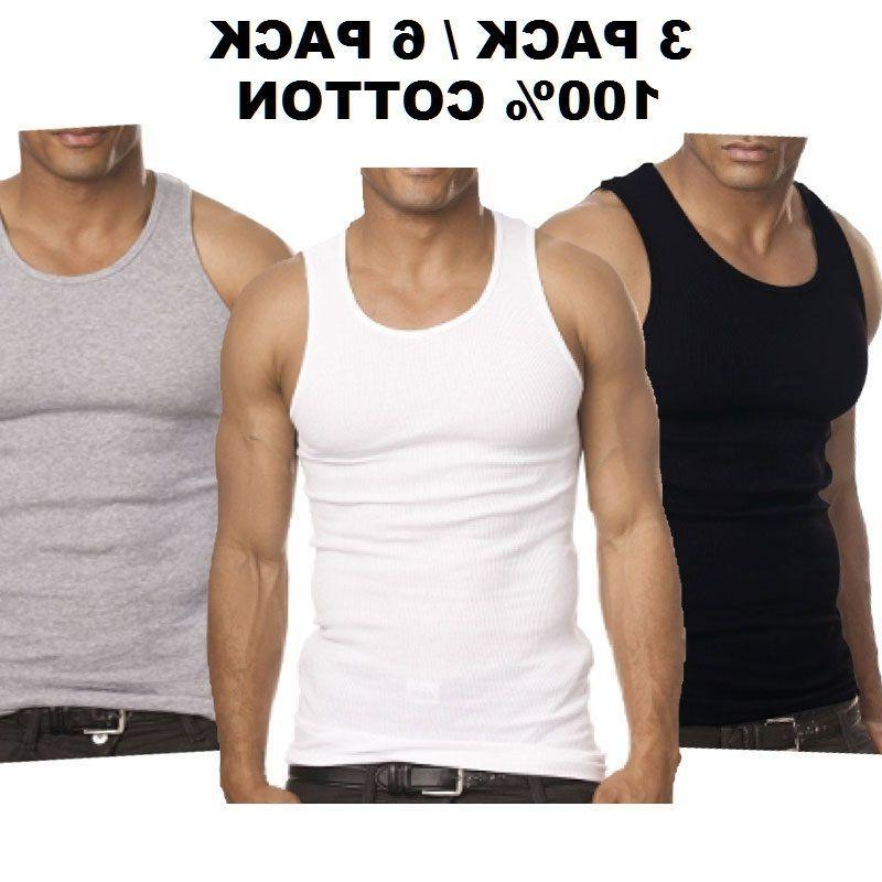 3-6 Mens 100% Cotton Wife-Beater Undershirt