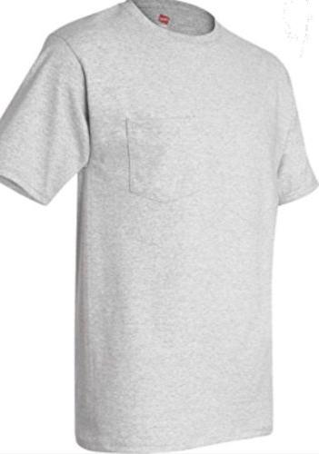 6 pack hanes mens pocket t shirt sizes S - 3XL choose your s