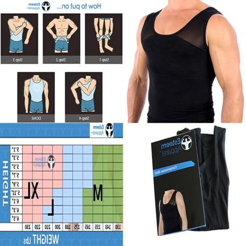 Esteem Apparel Original Men's Chest Compression Shirt to Hid