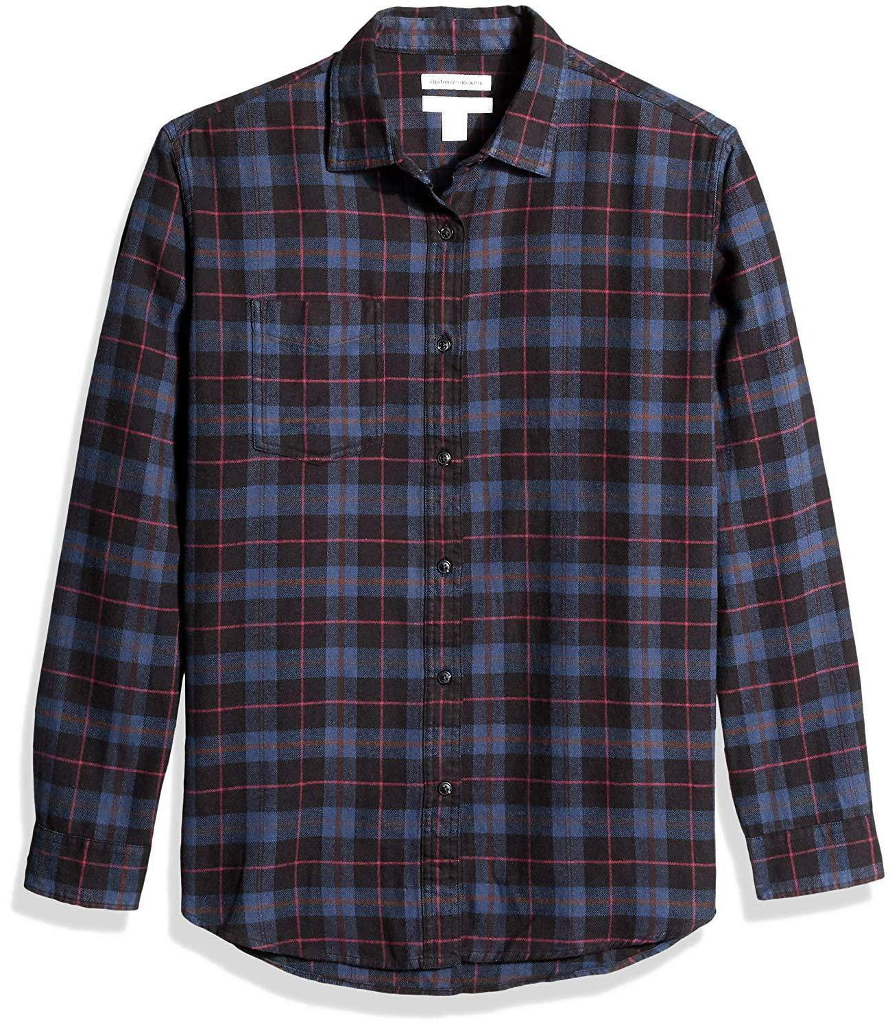 Amazon Regular-Fit Long-Sleeve Plaid Shirt