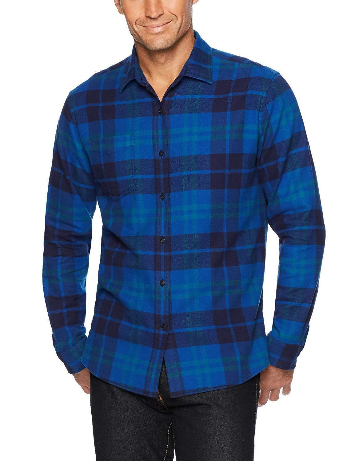 Amazon Men's Long-Sleeve Plaid Shirt