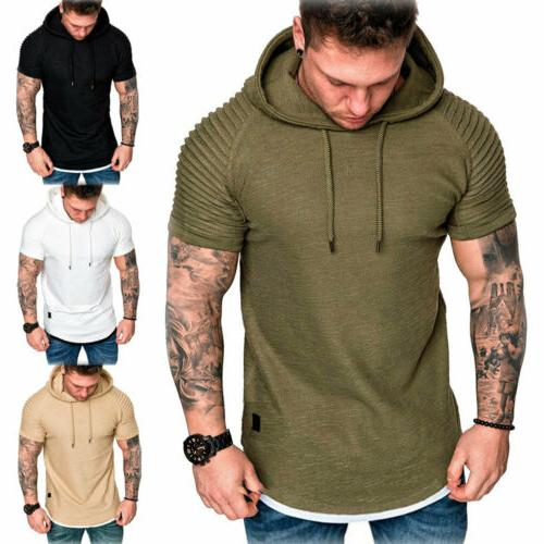 Fashion Slim Solid hooded Hoodie Short Sleeve Casual