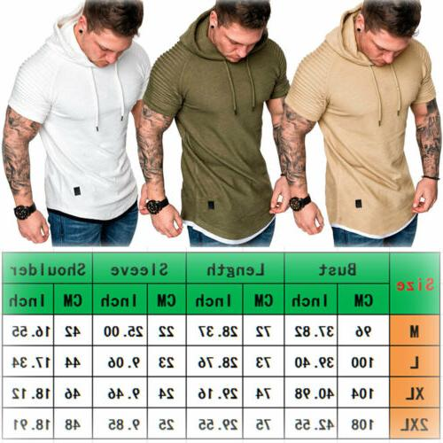 Fashion Men's Slim Solid hooded Short Sleeve