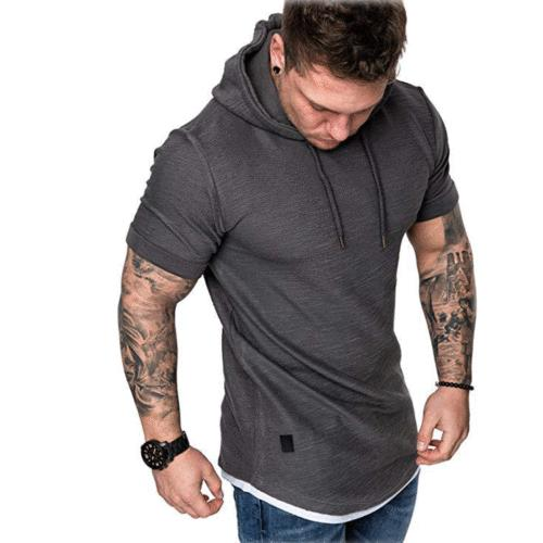 Fashion Slim Solid Hoodie Short Sleeve Casual T-Shirt