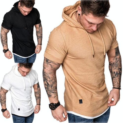 Fashion Men's Slim Fit Solid hooded Sleeve Casual