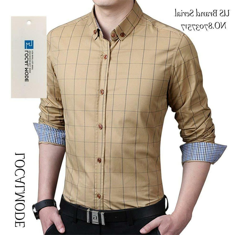 LOCALMODE Men's 100% Long Slim Fit Shirt