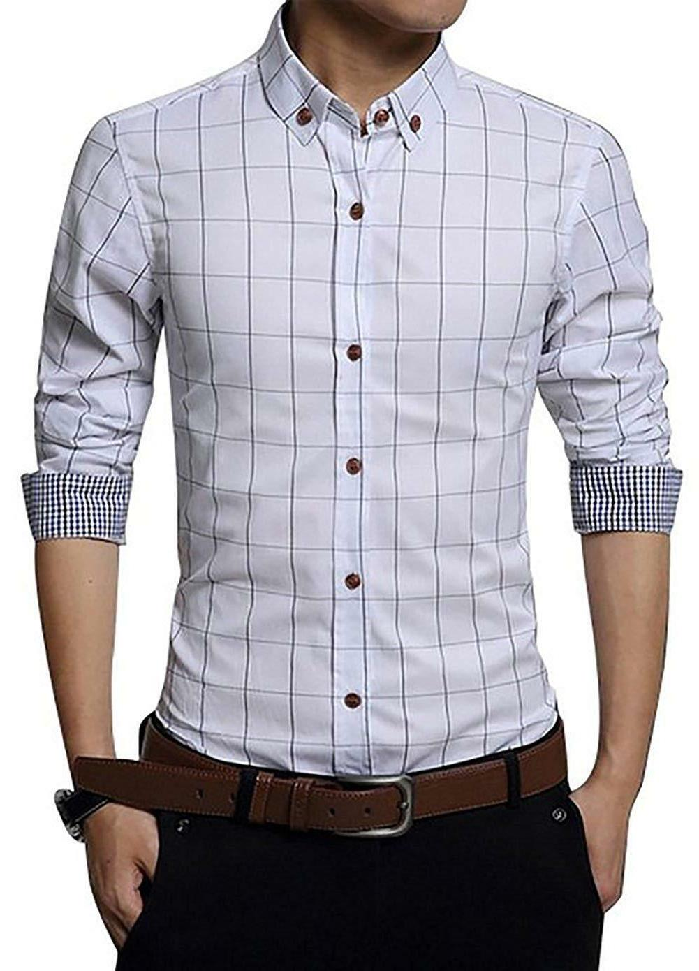 LOCALMODE Men's 100% Cotton Long Fit Button Down Shirt