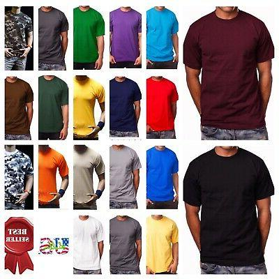 Men HEAVY WEIGHT T-Shirt Plain Crew Neck Fashion Casual Hips
