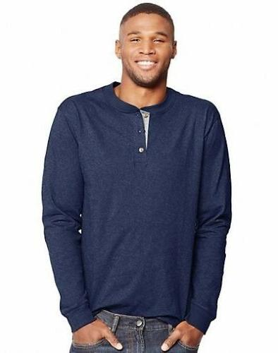 Hanes Beefy-T Henley - Tagless 6 COLORS -