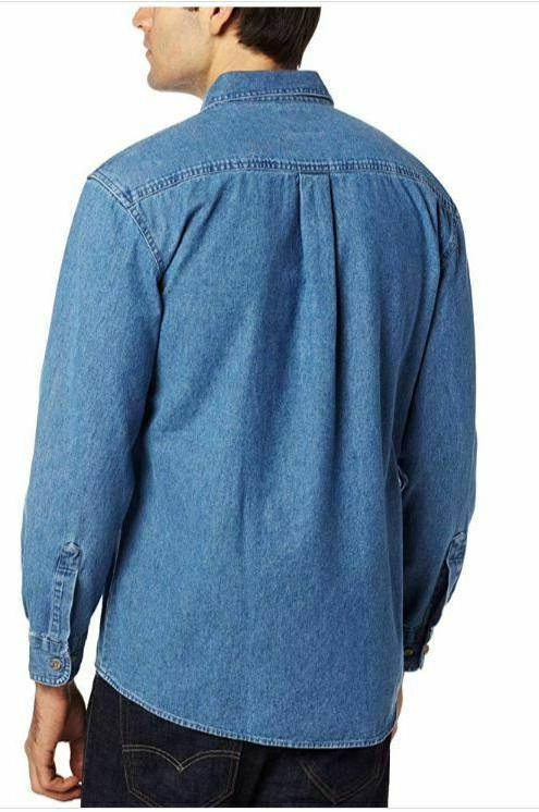 Dickies Work Shirt Long-Sleeve Button Up Stonewashed Blue