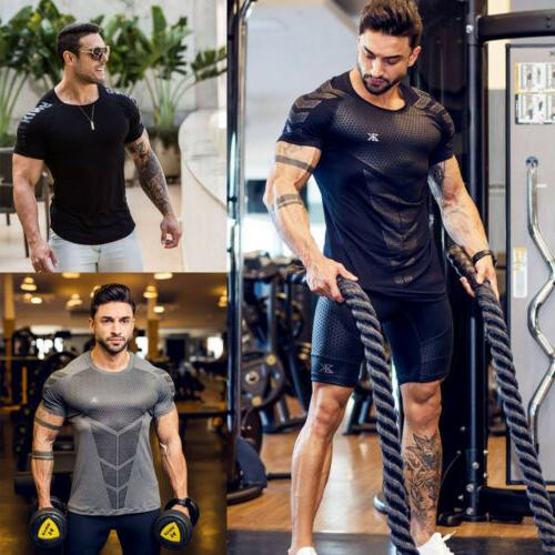 Fashion Men's O Sleeve Muscle Tee Casual Tops Blouse