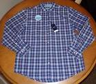 Men's IZOD navy blue plaid cotton blend dress shirt w/ Cool