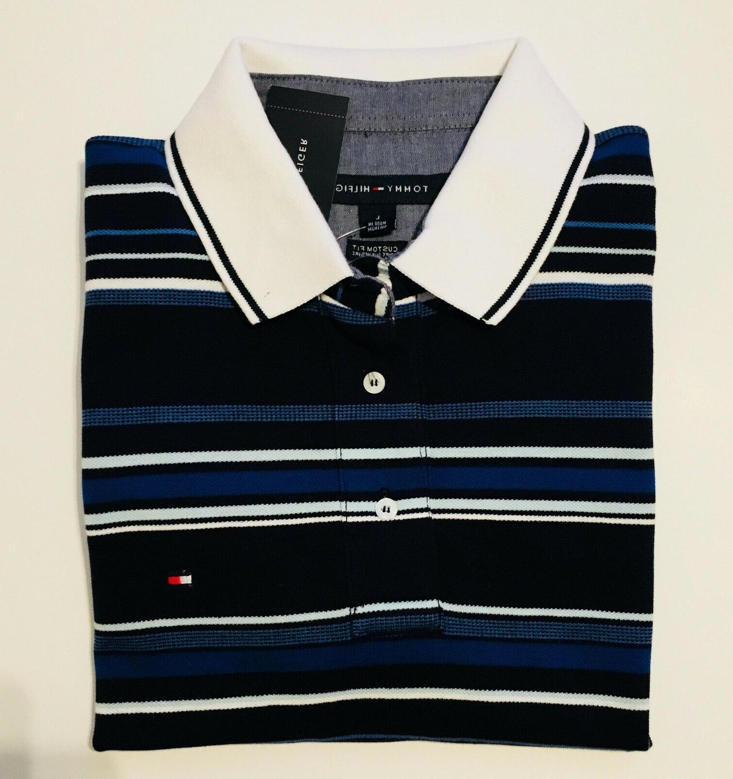 Men's Tommy Hilfiger Polo T-Shirt Blue With Stripes Large