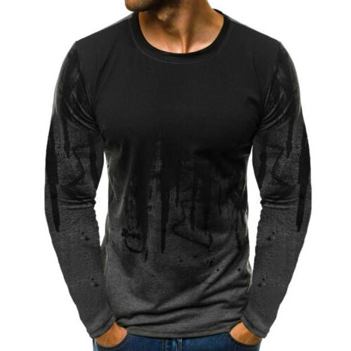 Men's Fit Neck Tee Casual Tops Blouse w
