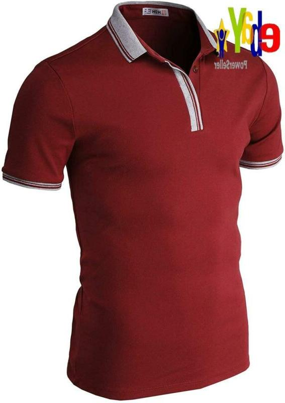 H2H Mens Casual Slim Fit Polo T-Shirts Basic Designed Of Var
