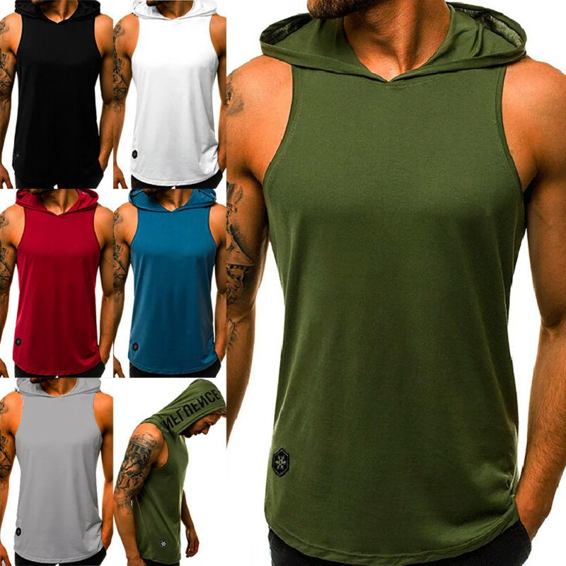 Mens Sports Bodybuilding Hooded Tank Tops Muscle Stringer T-Shirt