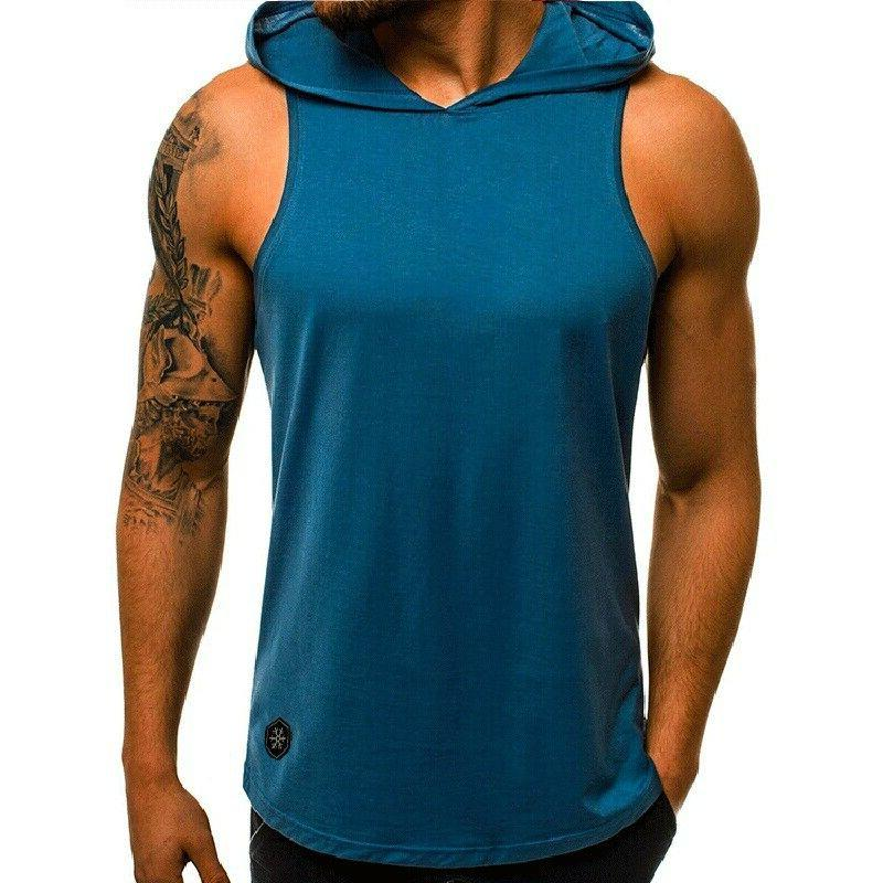 Mens Sports Bodybuilding Hooded Tank Muscle Stringer