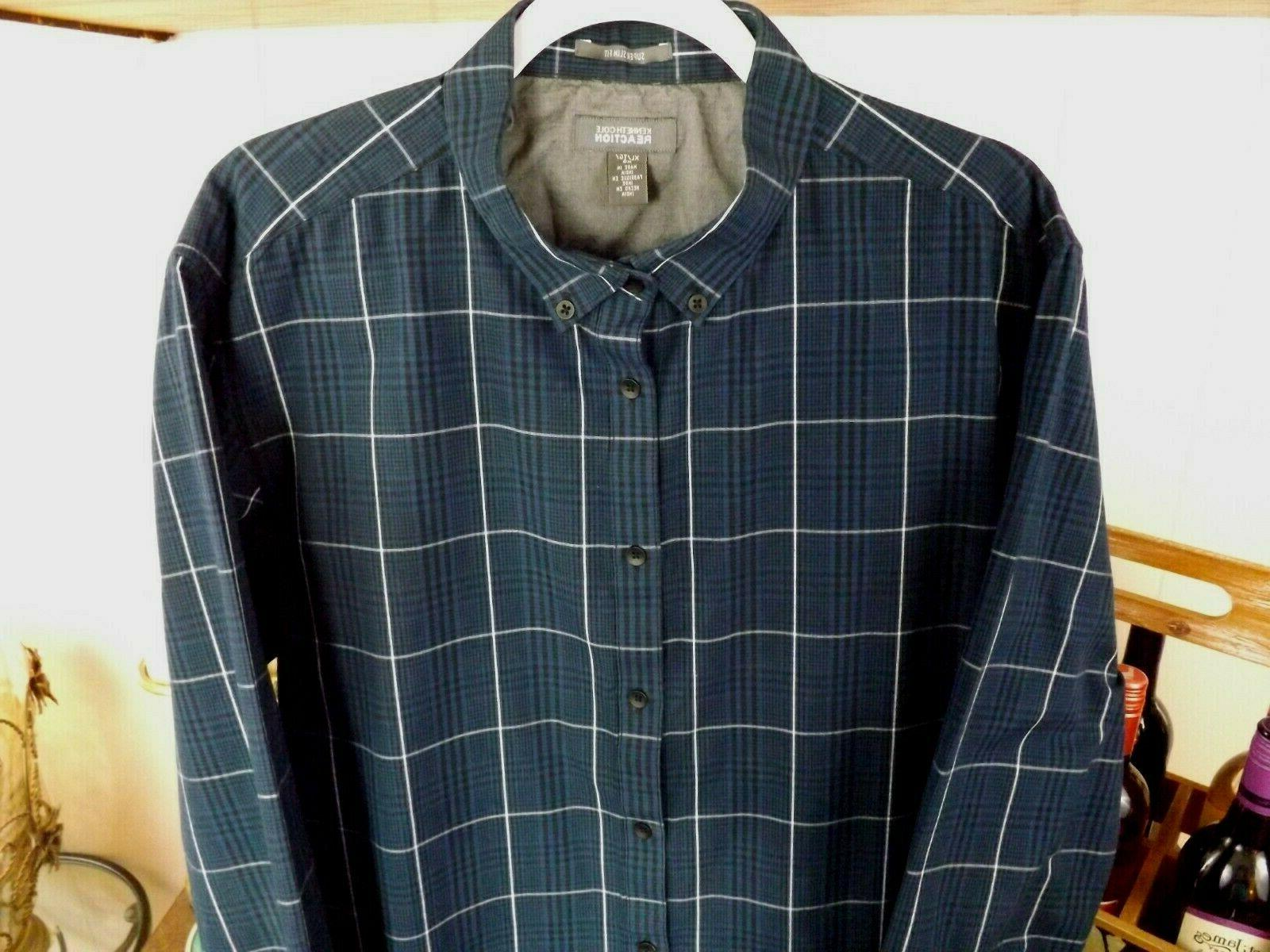 Mens XL Super Slim Fit Kenneth Cole Reaction Long Sleeve But