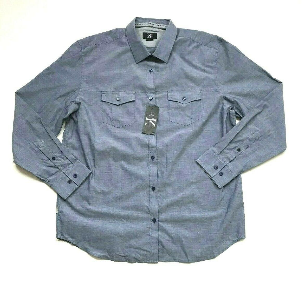 NWT Calvin Klein Men's Long Sleeve Button Down Cotton Shirt