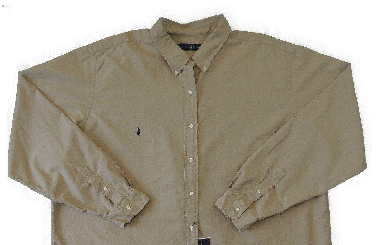 Polo Button Classic Oxford Shirt 3XB Tan