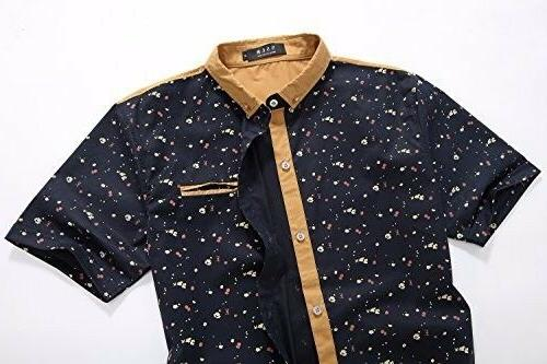 SSLR Men's Button Down Casual Short Sleeve Large