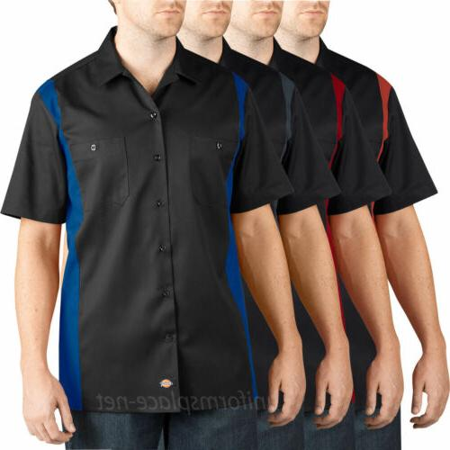 work shirts men short sleeve two tone