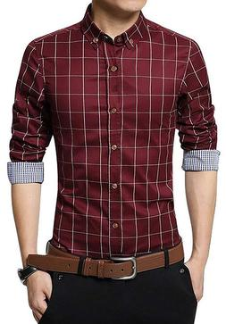 LOCALMODE Men's 100% Cotton Long Sleeve Plaid Slim Fit Butto