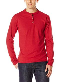 Hanes Men's Long-Sleeve Beefy Henley T-Shirt - X-Large - Bur