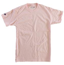 Champion Men 100% Cotton Short Sleeve T Shirt Pale Pink Larg