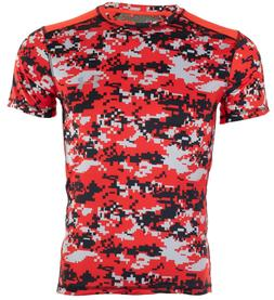 UNDER ARMOUR Men Athletic T-Shirt RED BLACK GRAPHIC Semi Fit